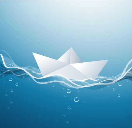 Paper boat on the waves Illustration