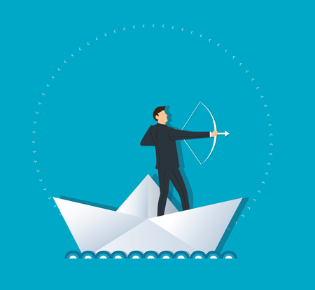 Businessman with a bow and arrow on paper boat