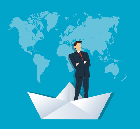 Businessman standing with cross arms on a paper boat Illustration