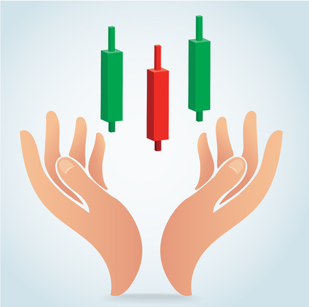 Hand holding candle stick graph chart of stock market vector Ilustrace