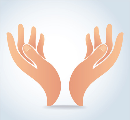 Hands holding design vector, hands pray.