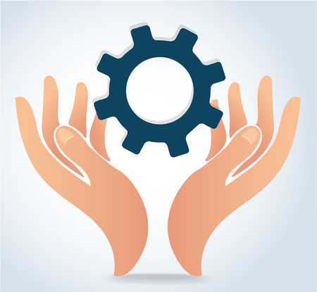 Hands holding gear design icon vector