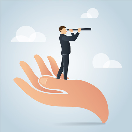 Businessman using a telescope on big hand vector, business concept