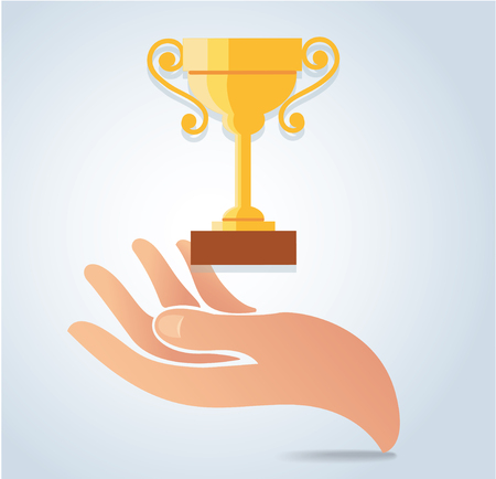 Hand holding champion cup vector, victory concept