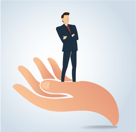 Successful businessman standing on big hand vector, business concept