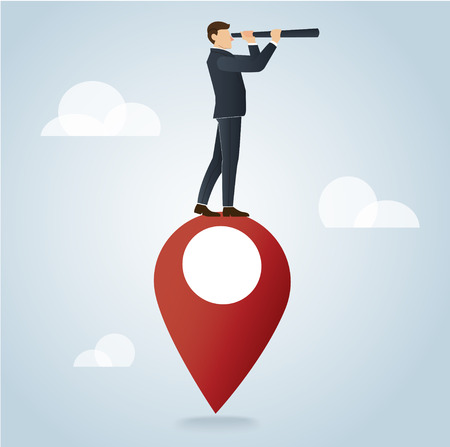 Businessman using a telescope on pin icon design vector illustration, travel concepts