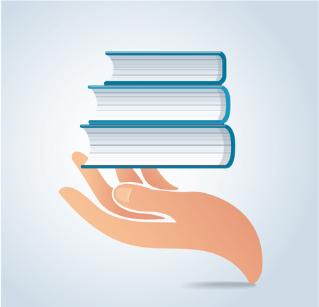 Hands holding books design vector, education concept