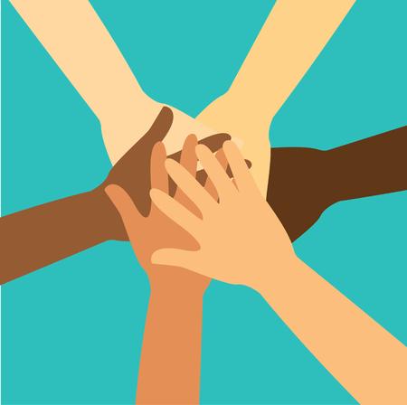 Persone che mettono le mani insieme vettoriale.