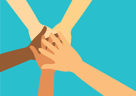 People putting their hands together vector.