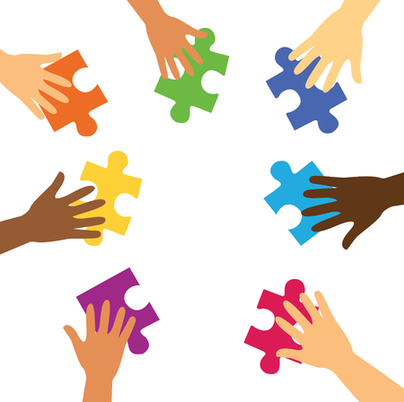 Many hands holding colorful puzzle pieces background vector illustration.