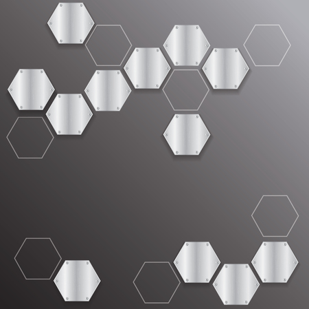 Metal hexagon with black background vector illustration Illustration