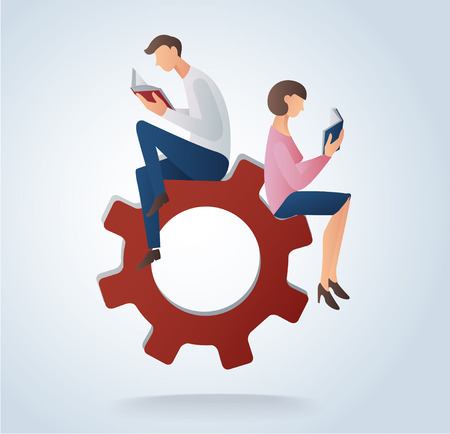 man and woman reading books on gears icon, concept of education vector illustration Illustration