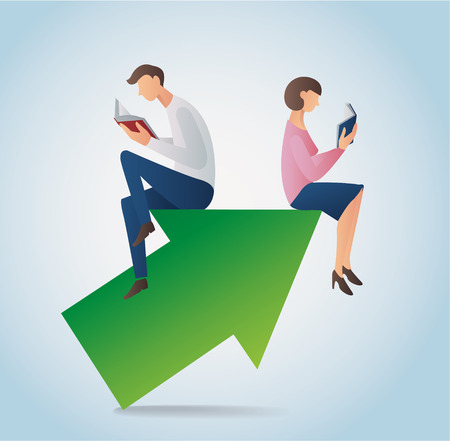 Man and woman reading book while sitting on an arrow icon.