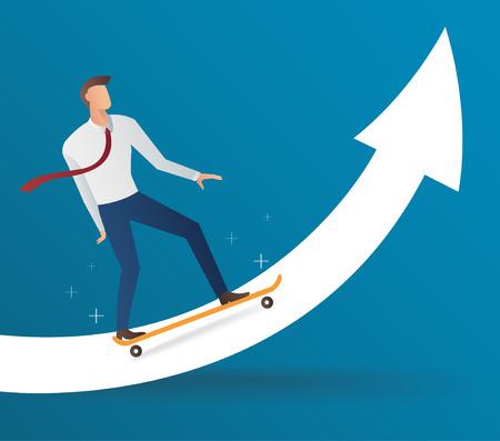 Businessman on skateboard with an arrow vector illustration