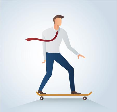 business graphics: Businessman on skateboard and background vector illustration.