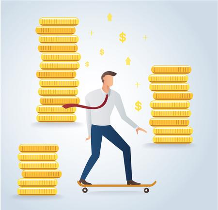 Businessman on skateboard and gold coins background vector illustration. Illustration