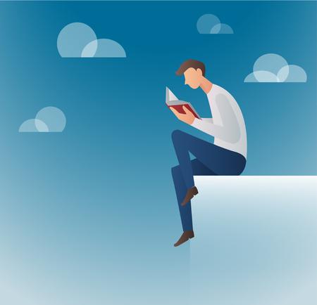 Man reading book. Illustration