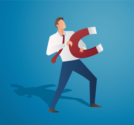 Businessman with a large magnet. Concept of successful business vector.