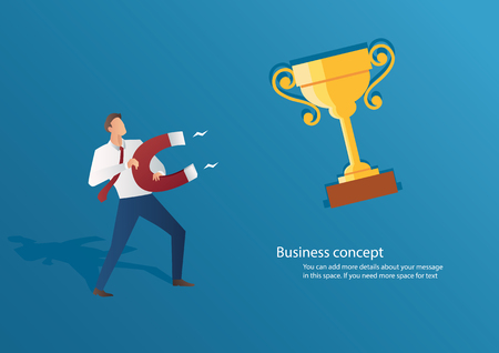 Business concept businessman attracting trophy with a large magnet vector illustration. Иллюстрация