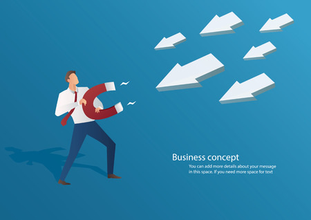 A business concept businessman attracting arrow icon with a large magnet vector illustration.