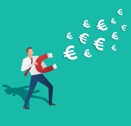 magnetismo: Business concept. Businessman attracting Euro icon with magnet vector illustration.