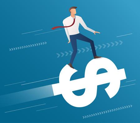 A businessman ride on dollar icon on blue background.