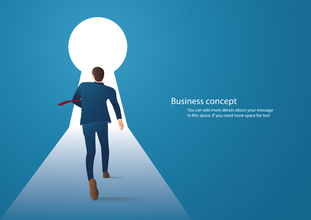 Business concept illustration of a businessman walking into keyhole with bright light