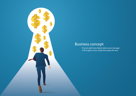 Business concept illustration of a businessman walking into keyhole with dollar icon