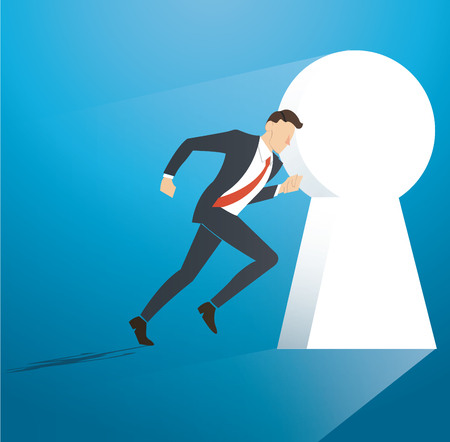 Business concept illustration of a businessman running into keyhole vector