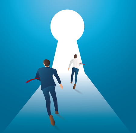 Business concept illustration of two businessman running into keyhole vector