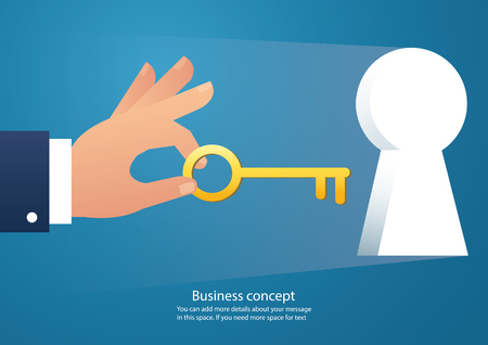 Hand holding the big key into keyhole vector.