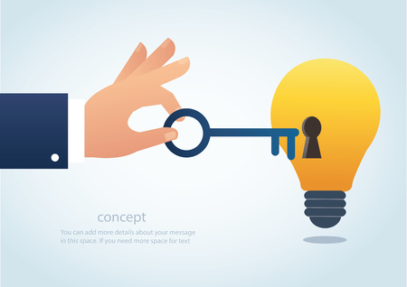 Hand holding the big key with keyhole on the lightbulb, concept of creative thinking vector.