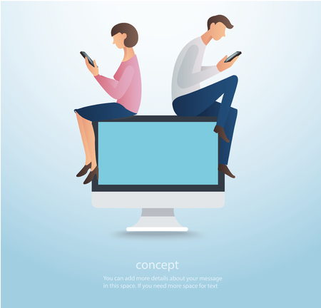 Man and woman using smartphone and sitting on computer.