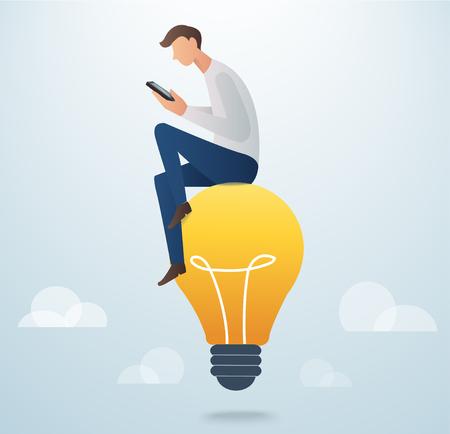 man holding smart phone sitting on light bulb, creative concept vector illustration Illustration