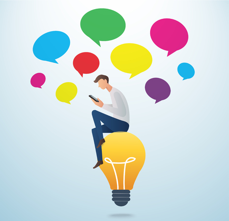 opinions: man holding a smartphone sitting on the lightbulb with colorful could chat box