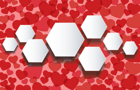 heart puzzle: Hexagon shape information graphic template with  red hearts background vector illustration. Illustration