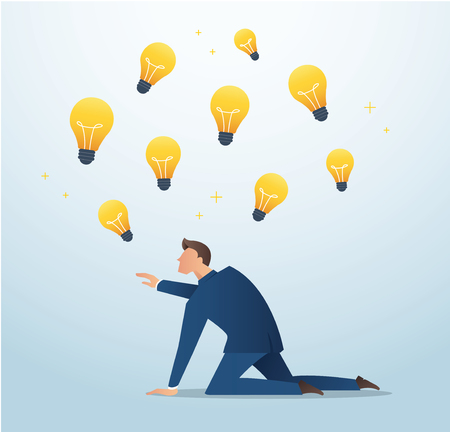 Businessman trying to catch light bulb , plagiarism , concept of creativity vector illustration Illustration