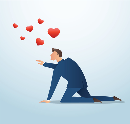 Man trying to catch the red heart icon, man try to find love