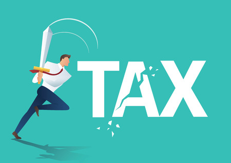 Business man using sword cut tax, business concept of reducing and lowering taxes vector illustration