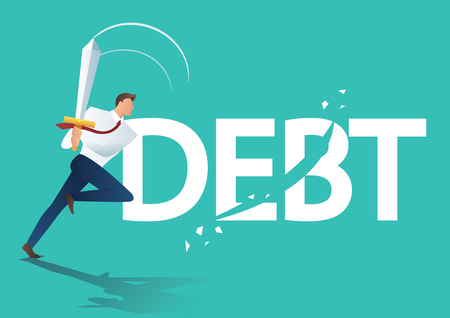 Business man using sword cut debt, business concept of debt settlement vector illustration
