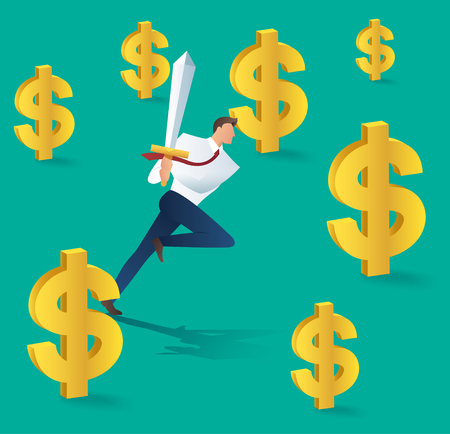 Business man with sword running and dollar icon, business concept of successful vector illustration