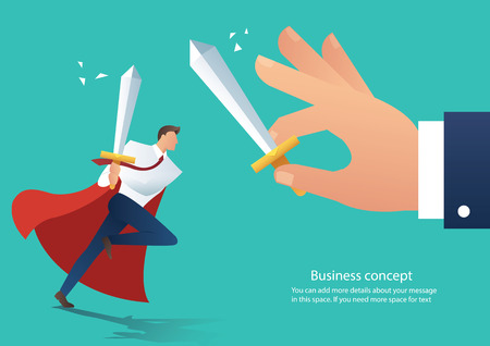 Businessman conflict holds a sword fighting with the co-worker, businessman fight boss at work vector illustration