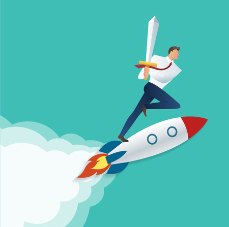 Businessman holding sword on the jet rocket, business concept to successful vector illustration