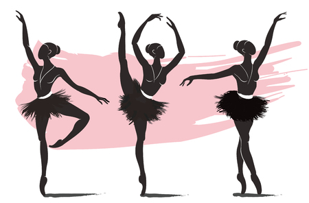 set of woman ballerina, ballet logo icon for ballet school dance studio vector illustration Çizim