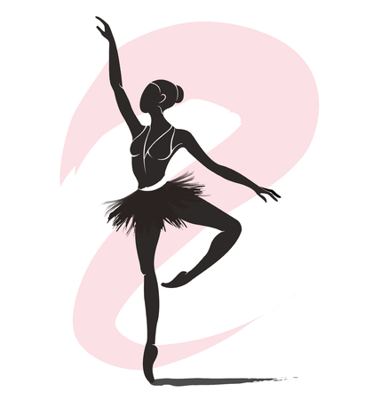 woman ballerina, ballet logo icon for ballet school dance studio vector illustration