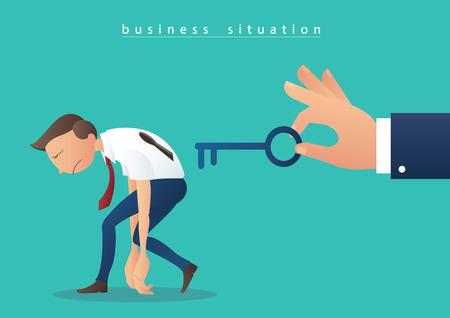 hand holding the big key and robot businessmen vector illustration Ilustracja