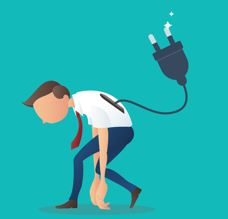 Cartoon character, low battery businessman with electrical plug , vector eps10