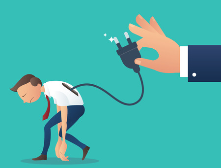 Cartoon character, low battery businessman with hand hold electrical plug. Illustration