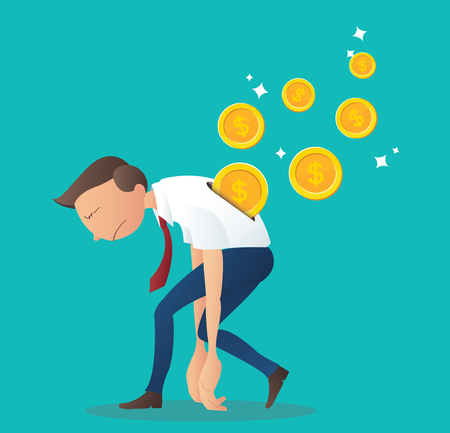 Coin inserting into back of businessman, business concept of pay salary vector illustration Illustration