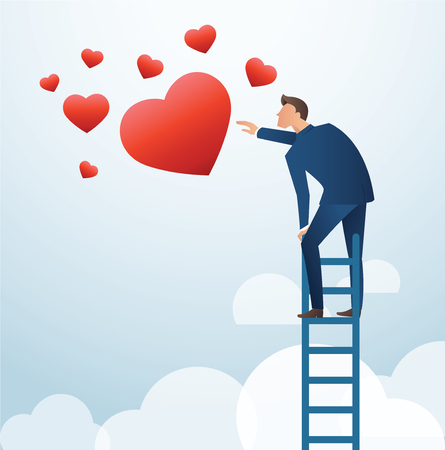 A man on ladder trying to catch the heart vector illustration